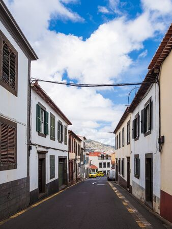 Building and street in Funchal on the island Madeira, Portugal.