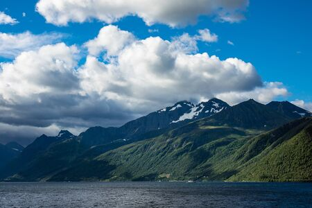 View to the Storfjord with mountains in Norway.