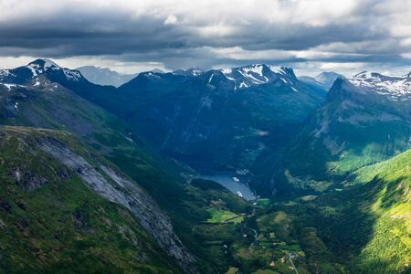 View from the mountain Dalsnibba in Norway. Stok Fotoğraf