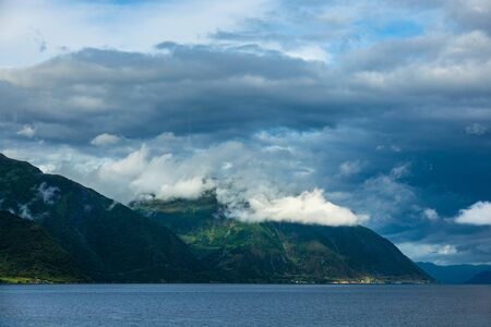 View to the Aurlandsfjord with mountains in Norway.