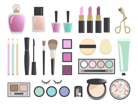 Beauty products and cosmetics, Vector illustration, Icon, Make up set