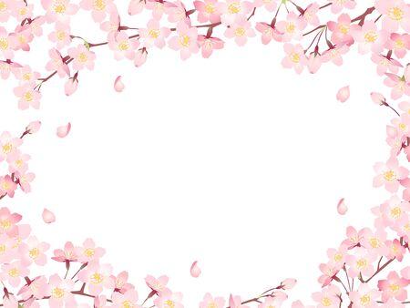 Illustration frame 03 of cherry blossoms in full bloom