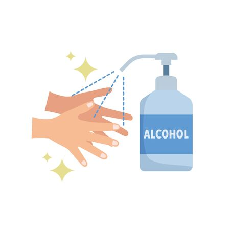 Hands, disinfection, alcohol disinfection, hand sanitizers, illustrations, vectors Illustration