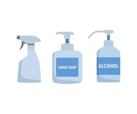 Spray, bottle, disinfection, container, alcohol, hand soap, illustration, vector, set