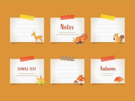 Frame set of masking tape and memo / Autumn illustration / Vector illustration 向量圖像
