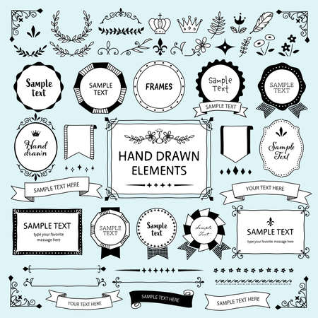 Hand-drawn vintage frame, ribbon, illustration material set