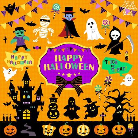 Halloween Illustration Set/Monster, Pumpkin, Silhouette