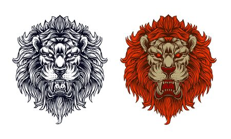 lion head furious vectoor illustration, editable and detailed Standard-Bild - 130117113