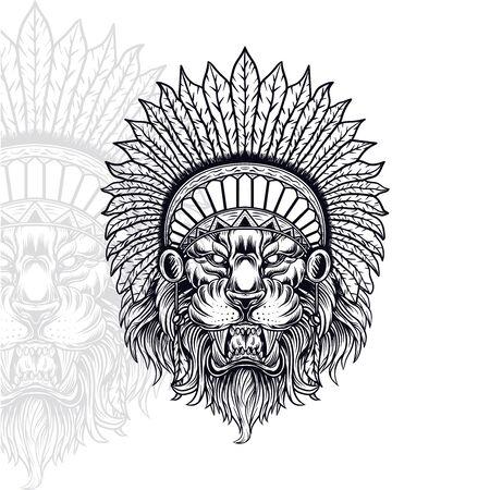 lion head vector, american indian vector illustration, editable and detailed Standard-Bild - 130117122