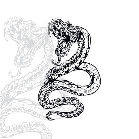 illustrazione vettoriale di serpente furioso, modificabile e dettagliata