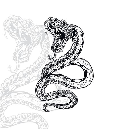snake furious vector illustration, editable and detailed
