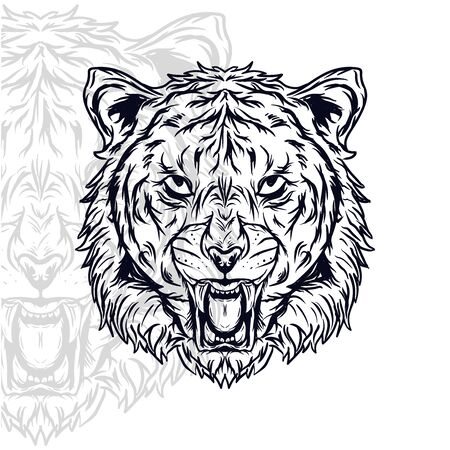 tiger head furious  vector illustration, editable and detailed