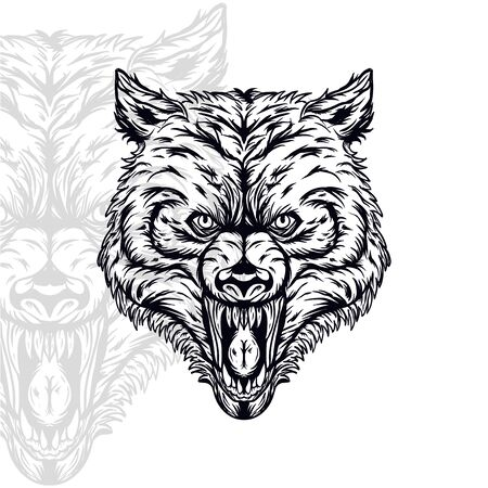 wolf head furious  vector illustration, editable and detailed