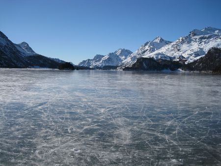 Icy lake in Switzerland