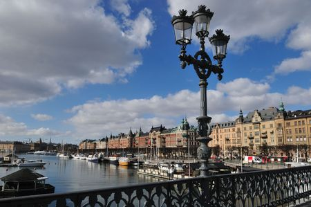 view over Stockholm from a bridge Stock Photo