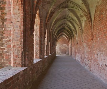View through an archway in a cloister Stock Photo