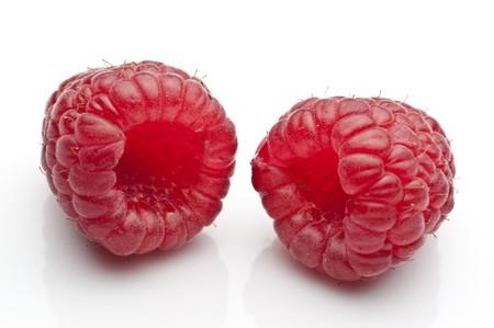 Raspberries isolated Stock Photo