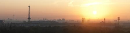 Sunrise over Berlin seen from the Teufelsberg Stock Photo