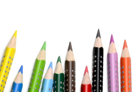 Colored pencils on white background Stock Photo