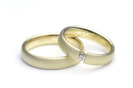 Wedding rings on white background Stock Photo
