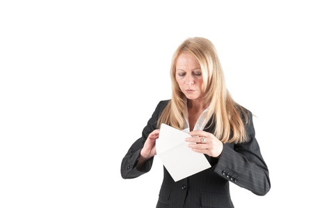 aplomb: Cut-out of a middle aged woman who opens a letter Stock Photo