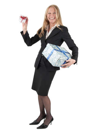 Middle aged woman with two parcels on white background