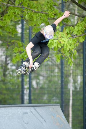 A jumping skater Stock Photo
