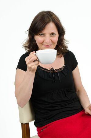 get tired: Woman with cup Stock Photo