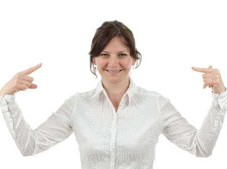 Woman is pointing at herself Standard-Bild