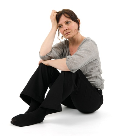 burn: A melancholic woman Stock Photo