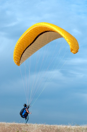 A starting paraglider