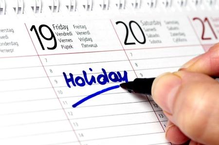 Holiday written in a calendar