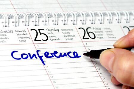 Conference written in a calendar