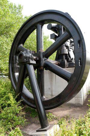 flywheel: Historical steam engine Stock Photo