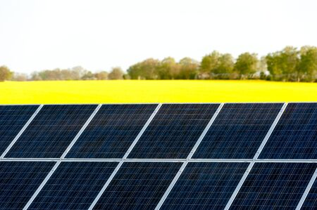 Solar panels in a rapeseed field Stock Photo - 13530929