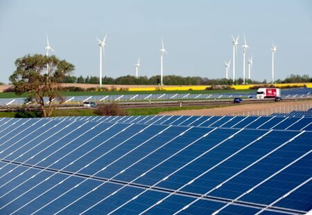 Wind turbines and solar panels Stock Photo - 13530921