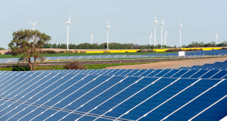 Wind turbines and solar panels Stock Photo - 13530919