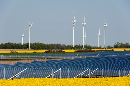 photovoltaic: Wind turbines and solar panels in a rapeseed field Stock Photo