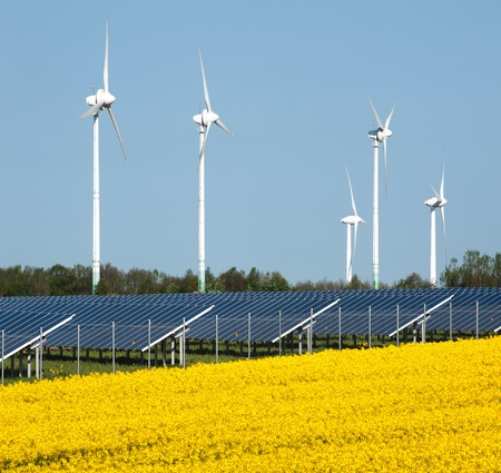 Wind turbines and solar panels in a rapeseed field photo