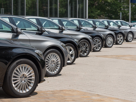 used cars for sale in a long row