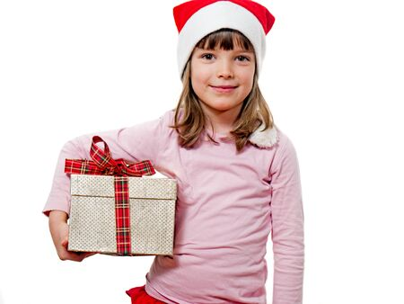Child with Santa Claus hat holding gift