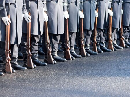 jointly: German soldiers of the guard regiment parading