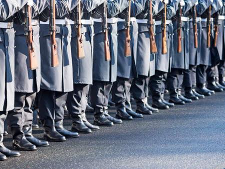 regiment: German soldiers of the guard regiment parading