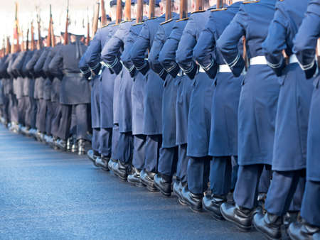 jointly: German soldiers of the guard regiment marching