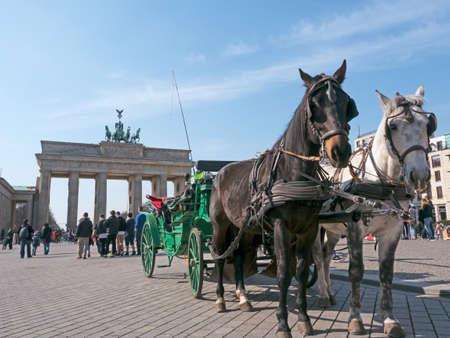 brandenburg gate: Carriage in front of the Brandenburg Gate in Berlin Editorial