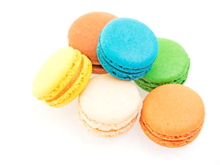closeup of colorful macarons isolated on white background Stock Photo