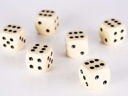 pasch: six dice with six on a white surface