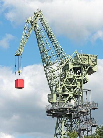 jib: steel made jib crane with red cubes