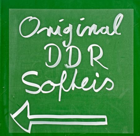 gdr: sign Softeis made in GDR written with chalk Stock Photo