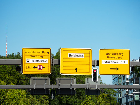 street signs: Street signs indicating central parts of Berlin Stock Photo